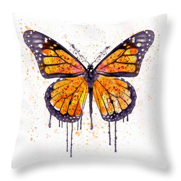 Monarch Butterfly Watercolor Throw Pillow by Marian Voicu