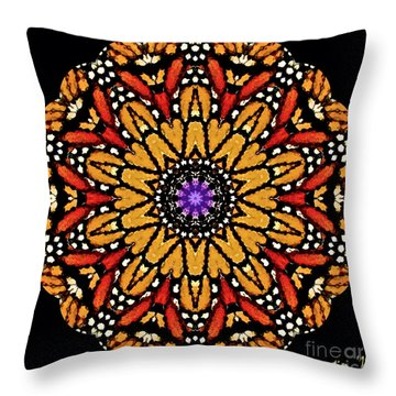 Monarch Butterfly Wings Kaleidoscope Throw Pillow by Carol F Austin