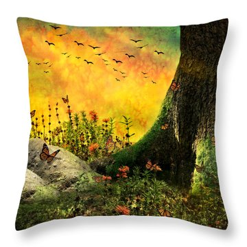 Monarch Meadow Throw Pillow by Ally  White