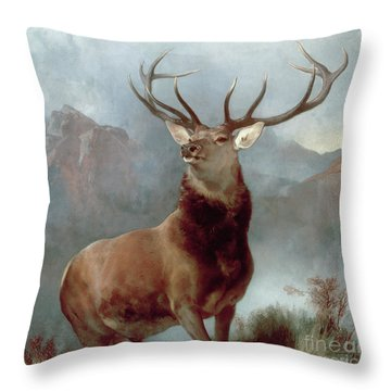 Monarch Of The Glen Throw Pillow by Sir Edwin Landseer
