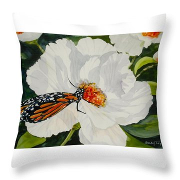 Monarch On A Poppy Throw Pillow