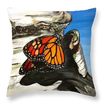 Monarch On Birch Throw Pillow