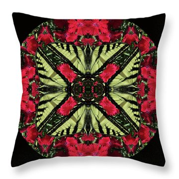 Monarch On Dianthus Kaleidoscope Throw Pillow