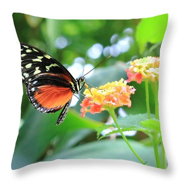 Monarch On Flower Throw Pillow
