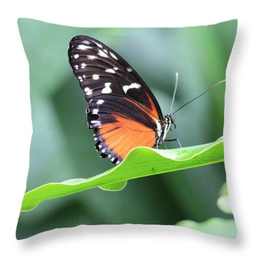 Monarch On Green Leaf Throw Pillow