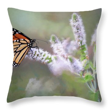Throw Pillow featuring the photograph Monarch On Mint 1 by Lori Deiter