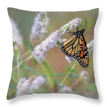 Throw Pillow featuring the photograph Monarch On Mint 2 by Lori Deiter