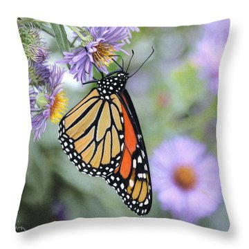 Monarch On New England Aster Throw Pillow