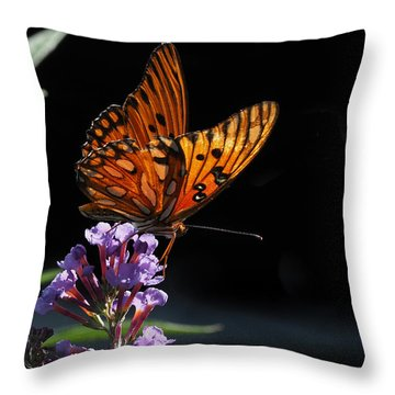 Monarch On Purple Flowers Throw Pillow