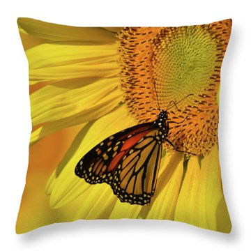 Throw Pillow featuring the photograph Monarch On Sunflower by Ann Bridges