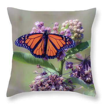 Throw Pillow featuring the photograph Monarch On The Milkweed by Kerri Farley