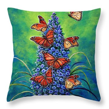 Monarch Waystation Throw Pillow by Gail Butler