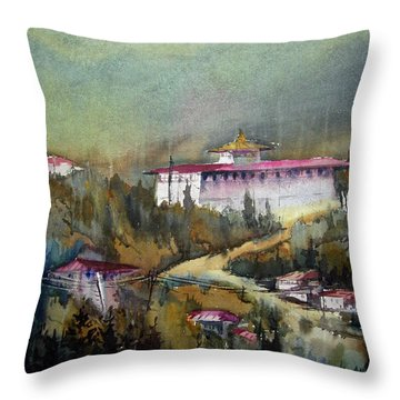 Throw Pillow featuring the painting Monastery In Mountain by Samiran Sarkar