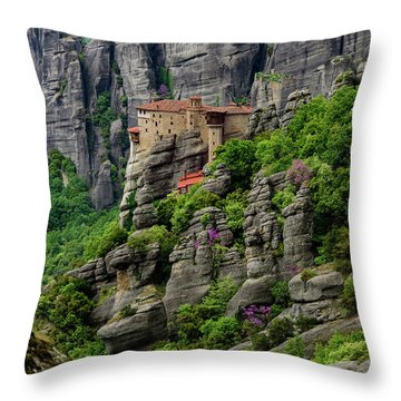Monastery Of Saint Nicholas Of Anapafsas, Meteora, Greece Throw Pillow