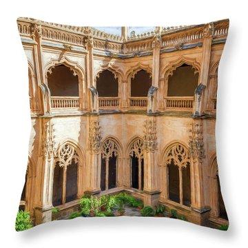 Monastery Toledo Spain Painterly Throw Pillow