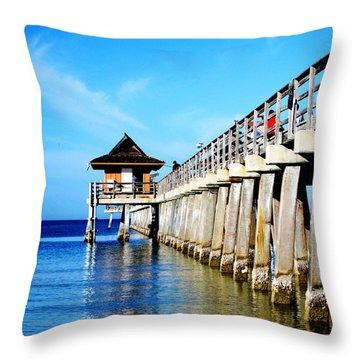 Monday Morning At Naples Pier Throw Pillow