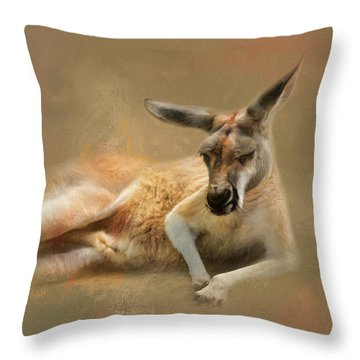 Monday Morning Drowsies Kangaroo Art Throw Pillow by Jai Johnson