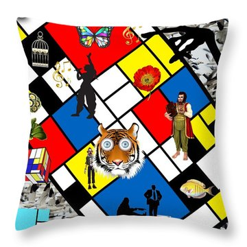 Mondrian Nightmare Throw Pillow