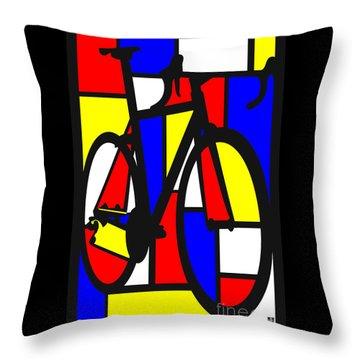 Mondrianesque Road Bike Throw Pillow