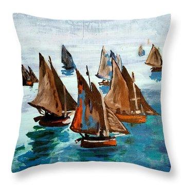 Monet Fishing Boats Calm Seas Throw Pillow by Scott D Van Osdol