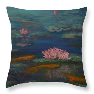 Monet Inspired Water Lilies With Gold Fish In A Pond Throw Pillow