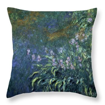 Monet: Irises By The Pond Throw Pillow by Granger