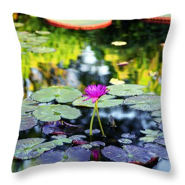 Throw Pillow featuring the photograph Monet Lilies by Gary Dean Mercer Clark