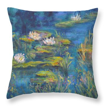 Monet Style Water Lily Marsh Wetland Landscape Painting Throw Pillow