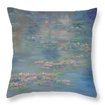 Monet Style Water Lily Peaceful Tropical Garden Painting Print Throw Pillow