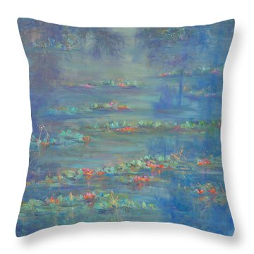 Monet Style Water Lily Pond Landscape Painting Throw Pillow