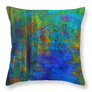 Throw Pillow featuring the painting Monet Woods by Claire Bull