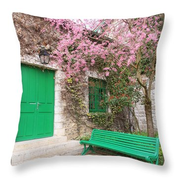 Monet's Bench Throw Pillow