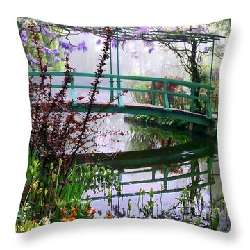 Monet's Bridge Throw Pillow by Jim Hill