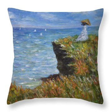 Throw Pillow featuring the painting Monet's Cliffs by Sandra Nardone