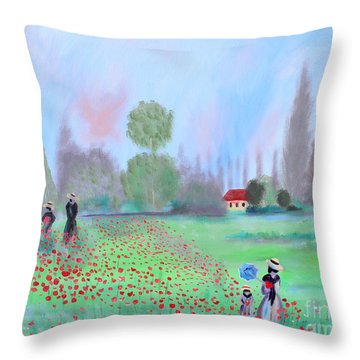 Monet's Field Of Poppies Throw Pillow