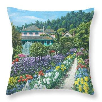 Monet's Garden Giverny Throw Pillow by Richard Harpum