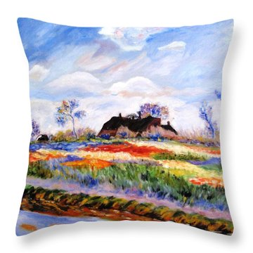 Monet's Tulips Throw Pillow