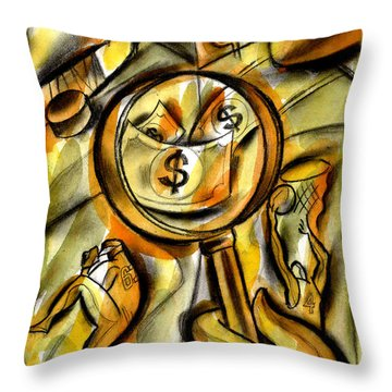 Throw Pillow featuring the painting Money And Professional Sports   by Leon Zernitsky