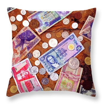 Money From Around The World Throw Pillow by Thomas R Fletcher