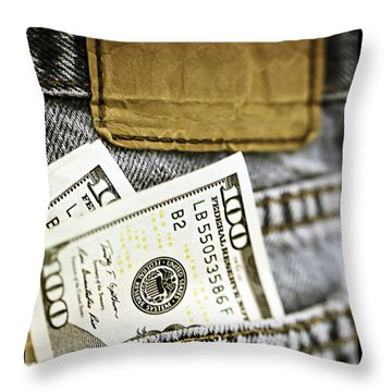 Throw Pillow featuring the photograph Money Jeans by Trish Mistric