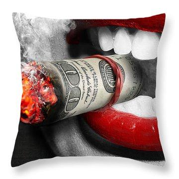 Money To Burn Throw Pillow