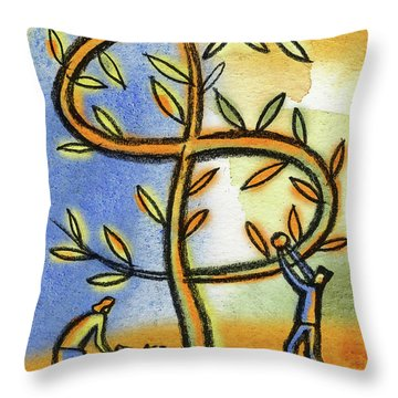 Throw Pillow featuring the painting Money Tree by Leon Zernitsky