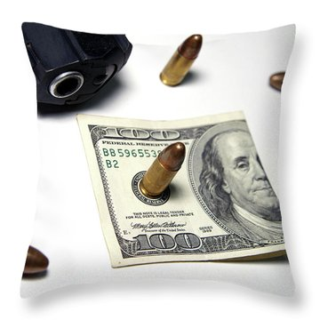 Money, Weapons And Power Throw Pillow