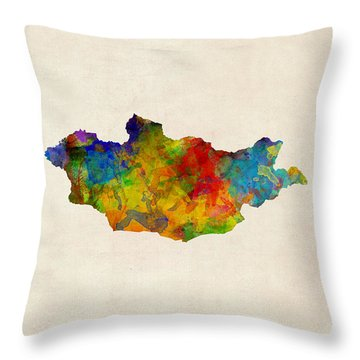 Throw Pillow featuring the digital art Mongolia Watercolor Map by Michael Tompsett