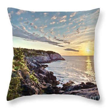 Throw Pillow featuring the photograph Monhegan East Shore by Tom Cameron