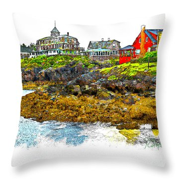 Throw Pillow featuring the photograph Monhegan West Shore by Tom Cameron