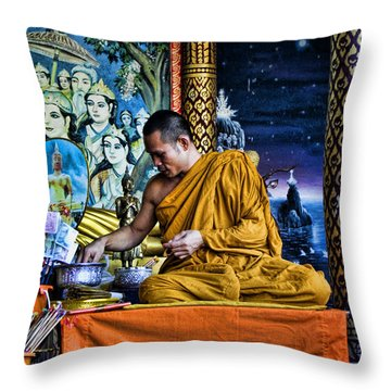 Monk At Big Buddha  Throw Pillow