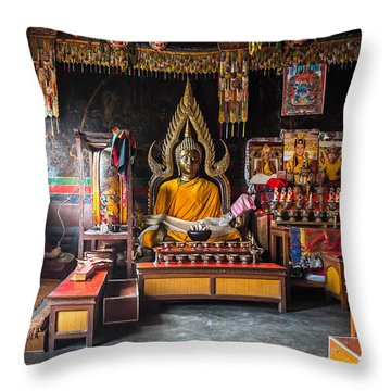 Kathmandu Monk Throw Pillow by Marty Garland