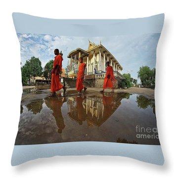 Monk Back Home Throw Pillow