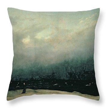 Monk By Sea Throw Pillow by Caspar David Friedrich